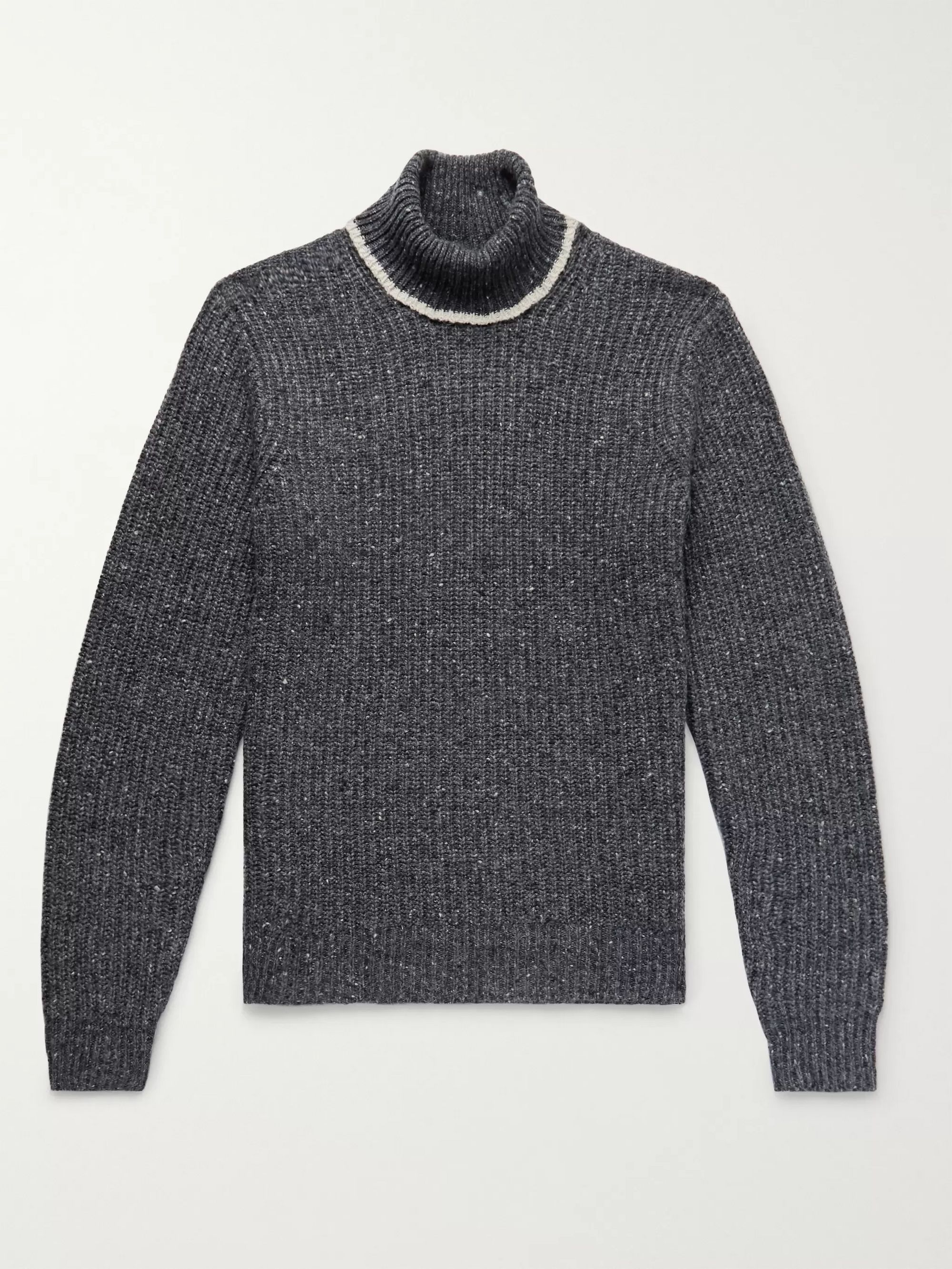 f5ed43f29d9 Contrast-Tipped Ribbed Merino Wool-Blend Rollneck Sweater