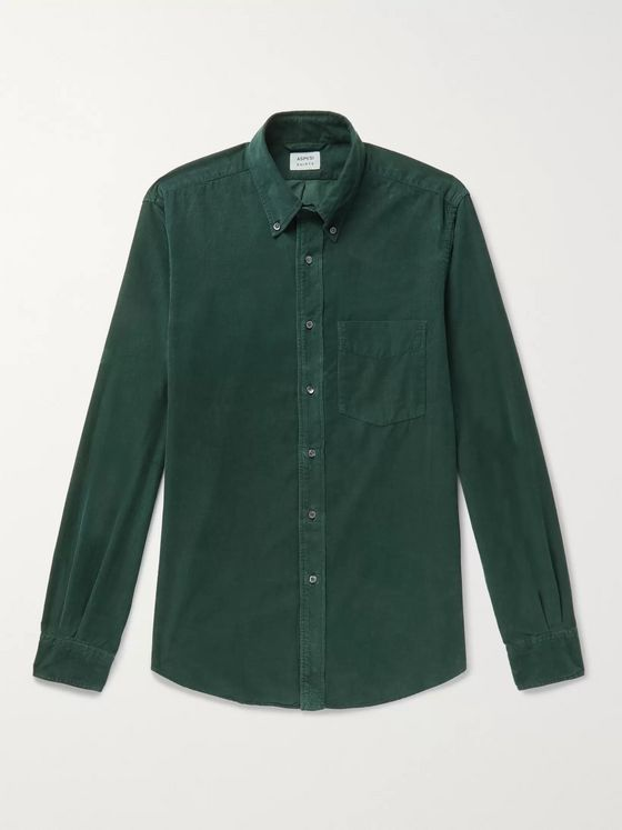 Aspesi Slim-Fit Button-Down Collar Cotton-Corduroy Shirt