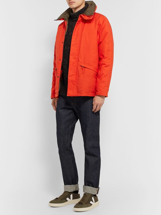 Aspesi Garment-Dyed Waxed-Cotton Hooded Down Jacket