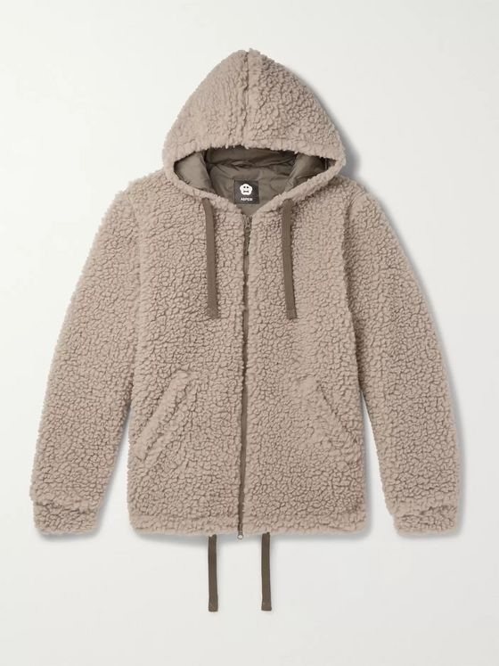 Aspesi Wool-Blend Fleece Zip-Up Hoodie
