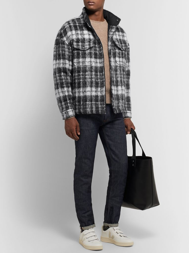 Aspesi Checked Textured-Knit Jacket