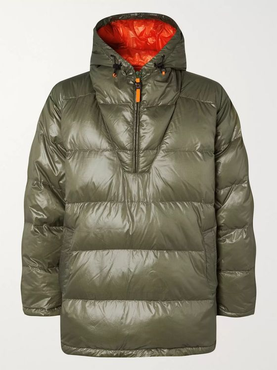 Aspesi Quilted Ripstop-Shell Hooded Half-Zip Down Jacket