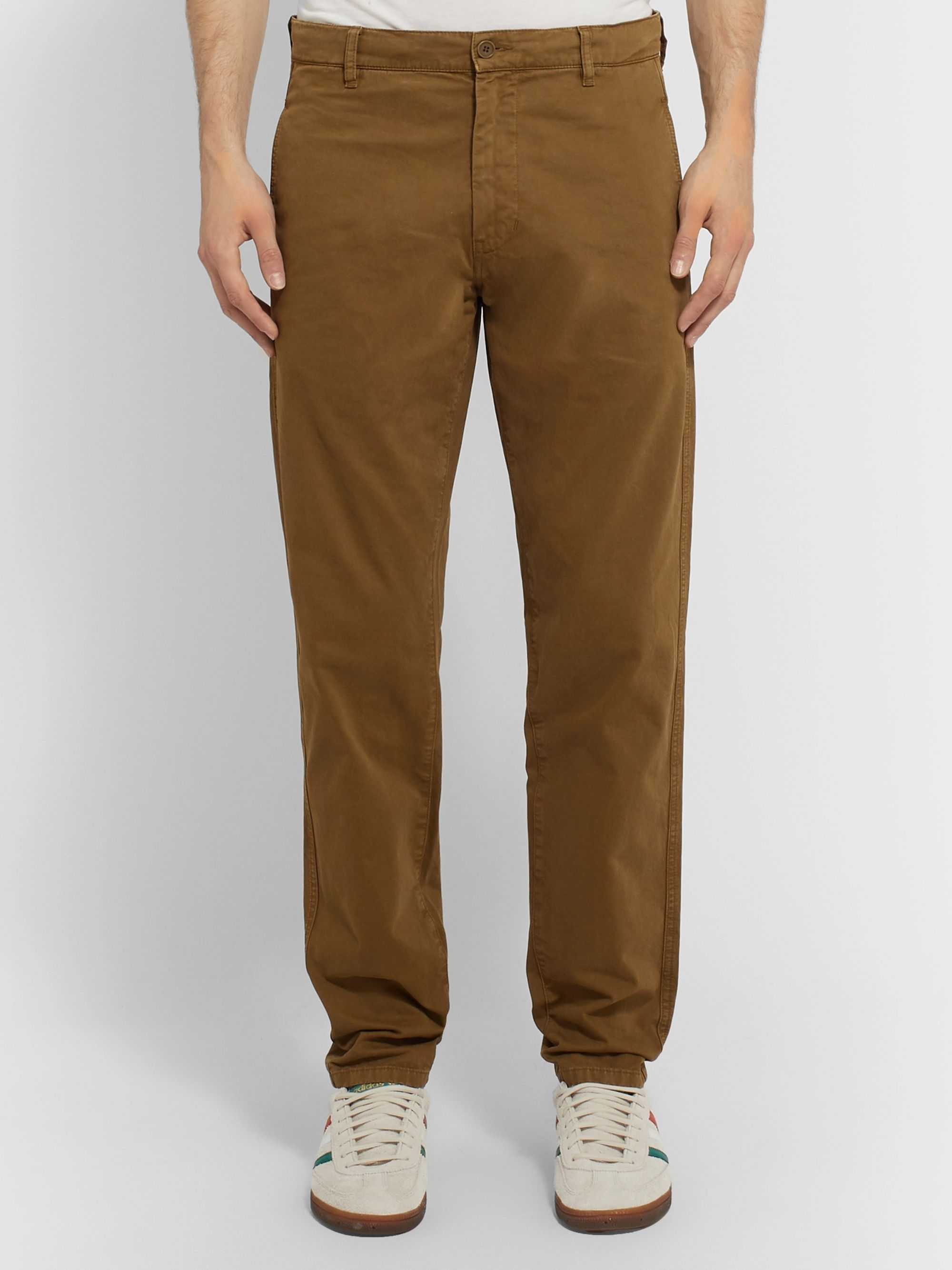 Aspesi Tapered Garment-Dyed Cotton-Twill Trousers