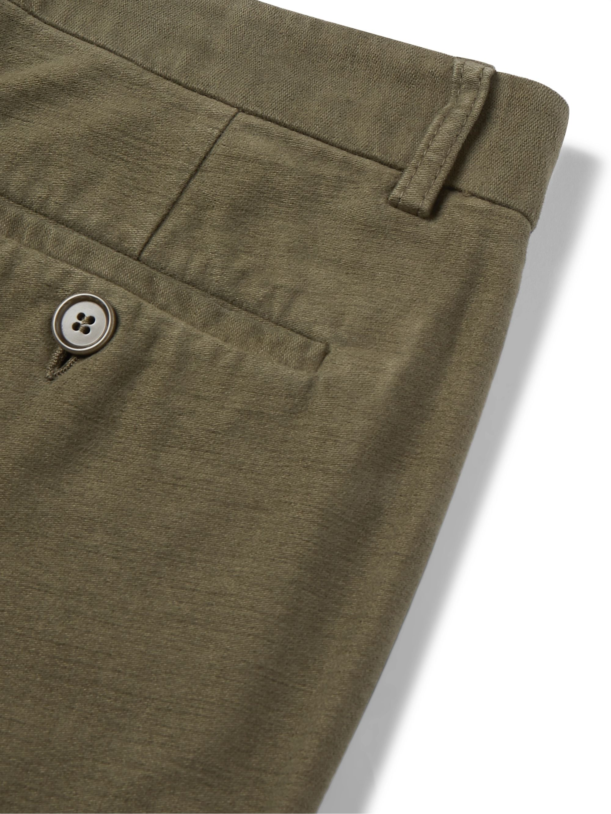 Aspesi Grey Slim-Fit Cotton-Moleskin Trousers