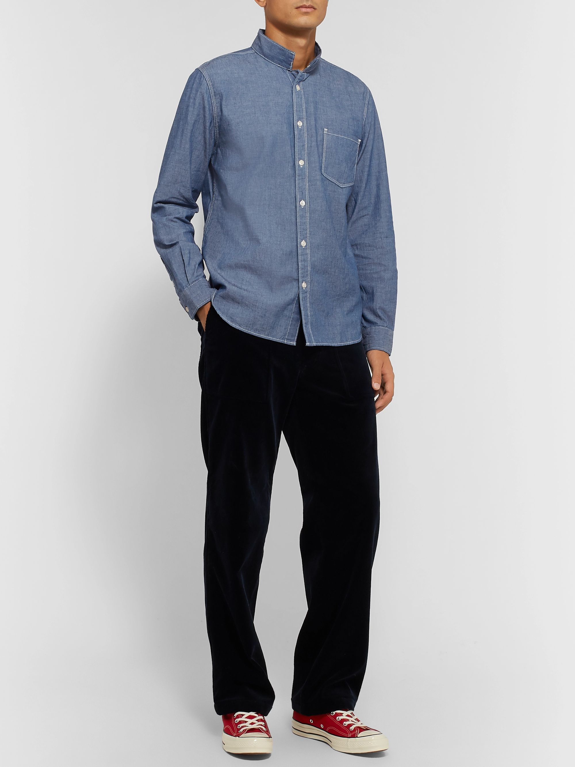Barbour White Label White Label Mile Castle Mandarin-Collar Cotton-Chambray Shirt