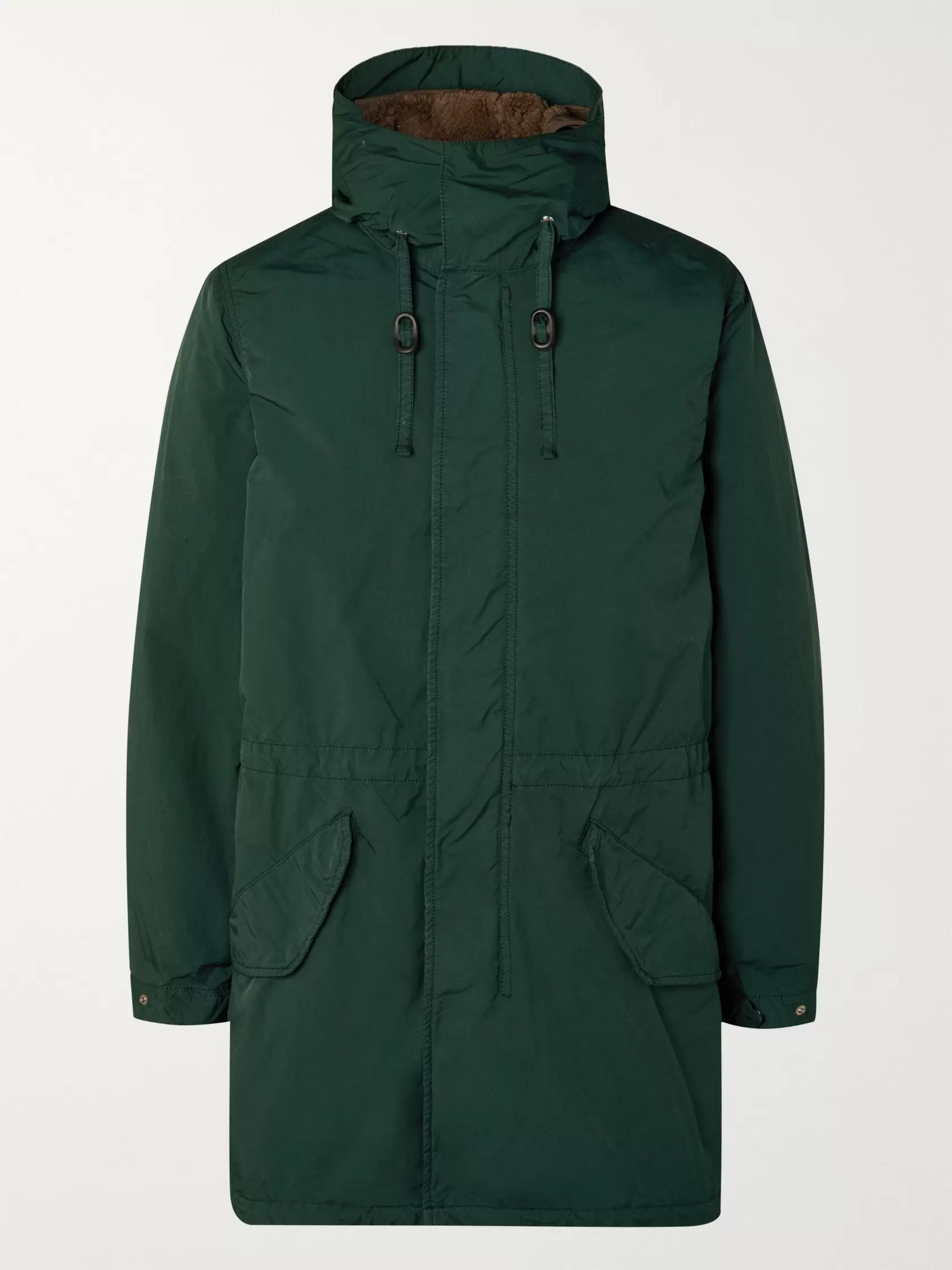 Garment Dyed Nylon Hooded Parka With Detachable Fleece Liner by Aspesi