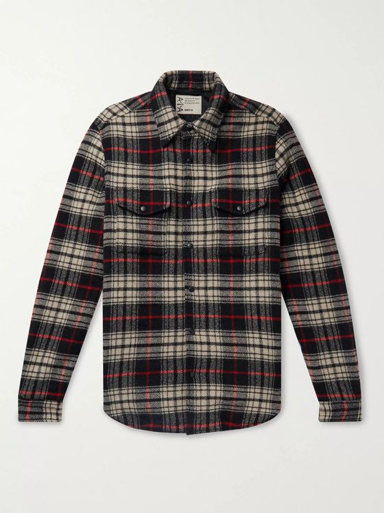 Aspesi Checked Virgin Wool-Blend Flannel Jacket