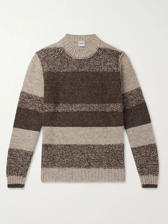 Aspesi Panelled Mélange Wool Sweater