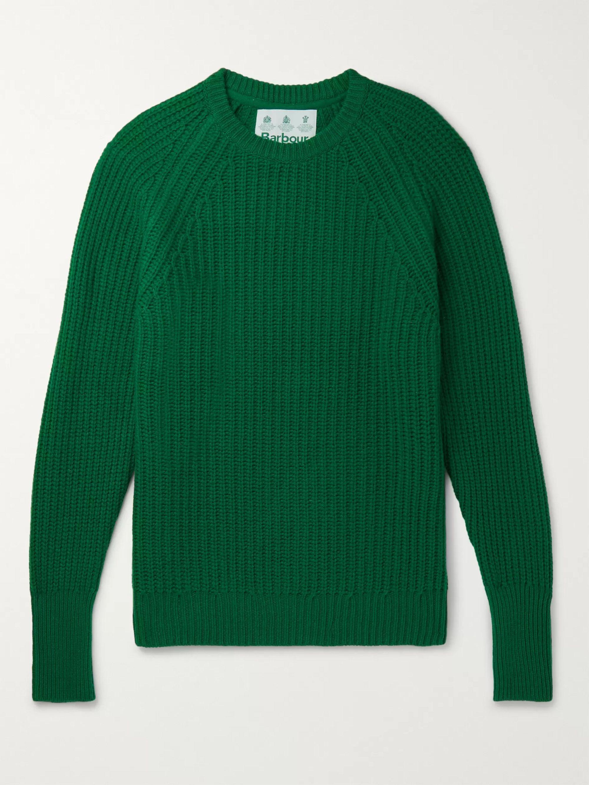 halv av försäljning av skor kupongskod Green White Label Tynedale Ribbed Wool Sweater   Barbour White ...