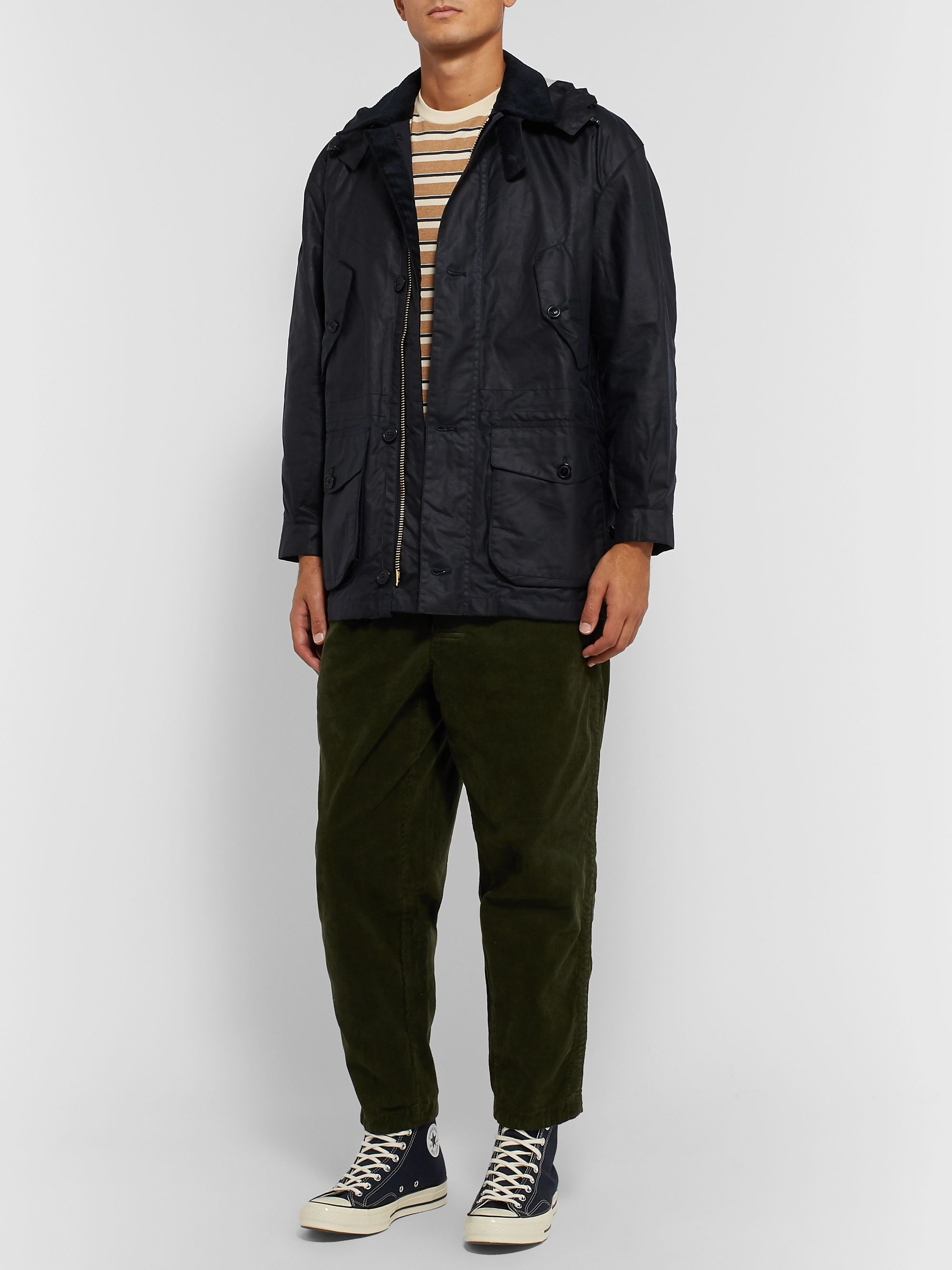 Barbour White Label White Label Endurance Hooded Corduroy-Trimmed Waxed-Cotton Jacket