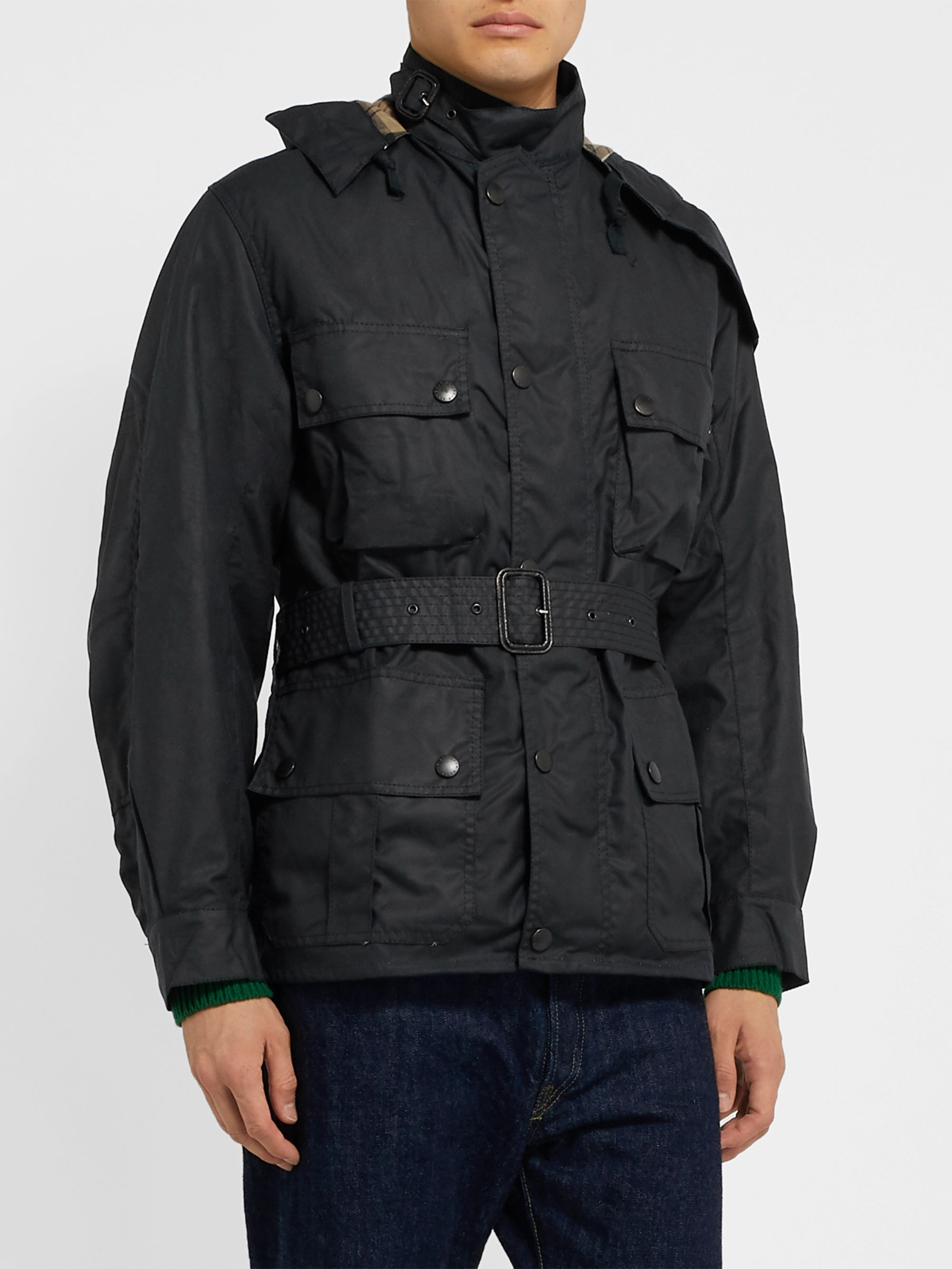 Barbour White Label White Label Ursula Slim-Fit Waxed-Cotton Hooded Jacket