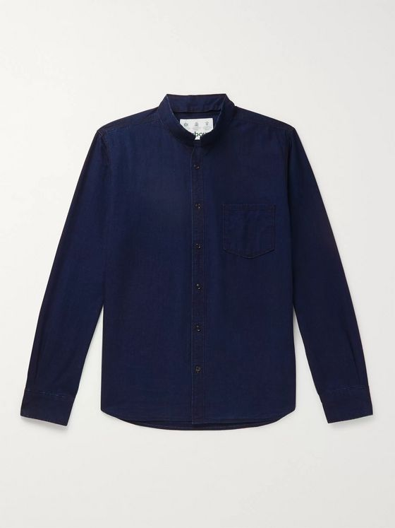 Barbour White Label Mile Castle Mandarin-Collar Cotton-Chambray Shirt