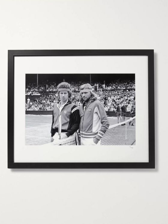 "Sonic Editions Framed 1980 Bjorn Borg and John McEnroe at Wimbledon Print, 16"" x 20"""