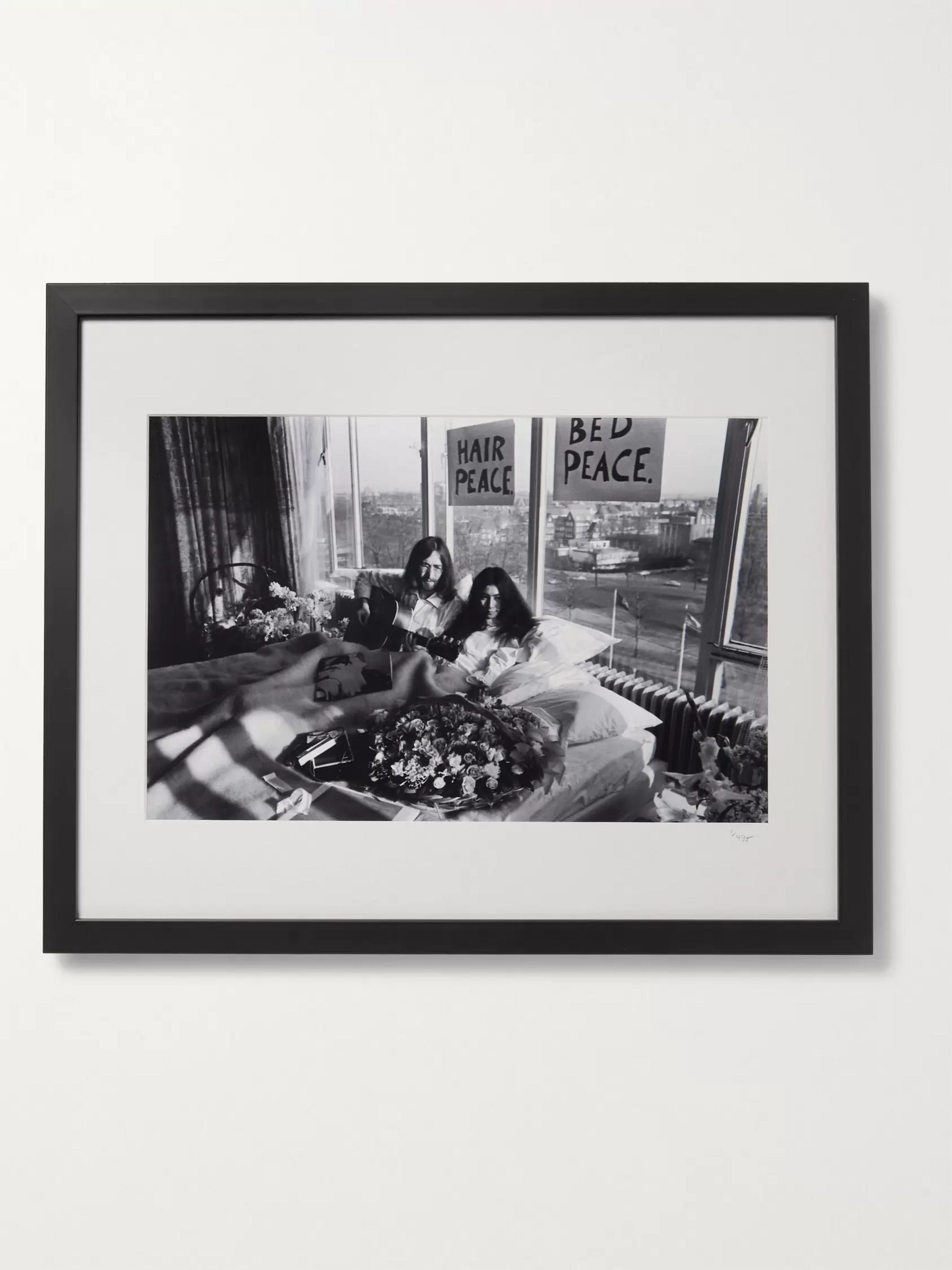 "Sonic Editions Framed 1969 John and Yoko Bed Protest Print, 16"" x 20"""