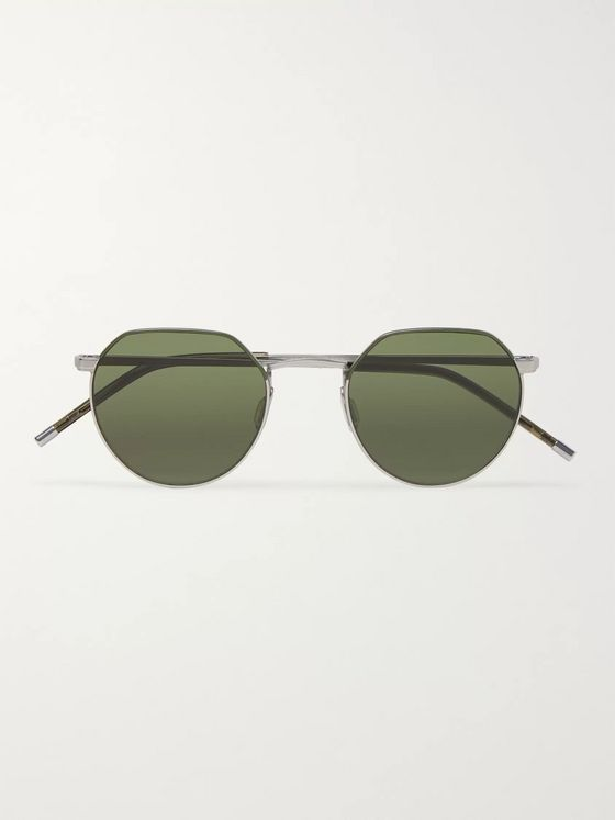 Dick Moby Agadir Round-Frame Silver-Tone Sunglasses