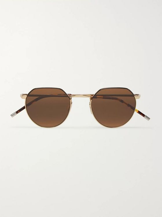 Dick Moby Agadir Round-Frame Gold-Tone Sunglasses