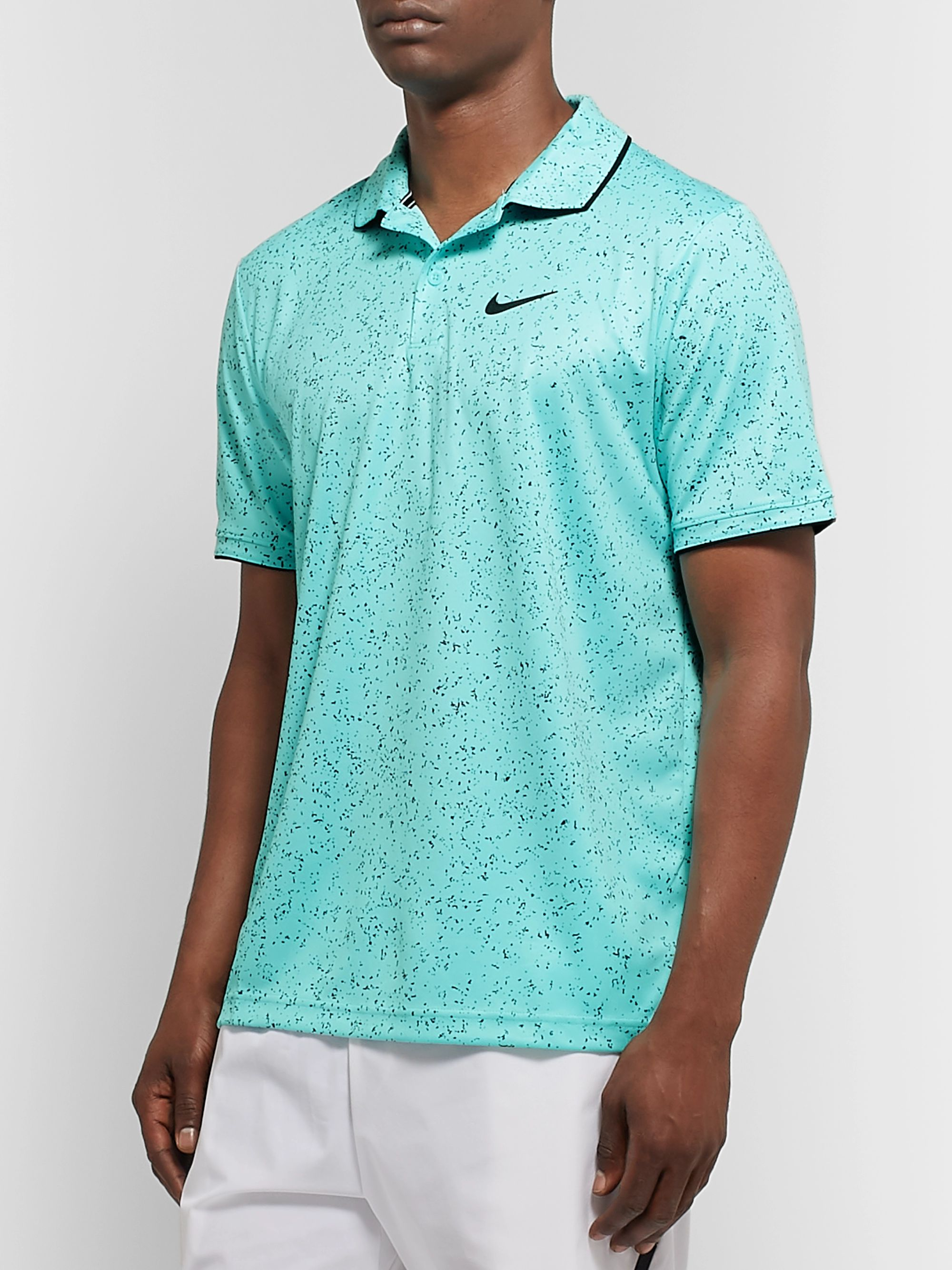 Nike Tennis NikeCourt Contrast-Tipped Printed Dri-FIT Tennis Polo Shirt