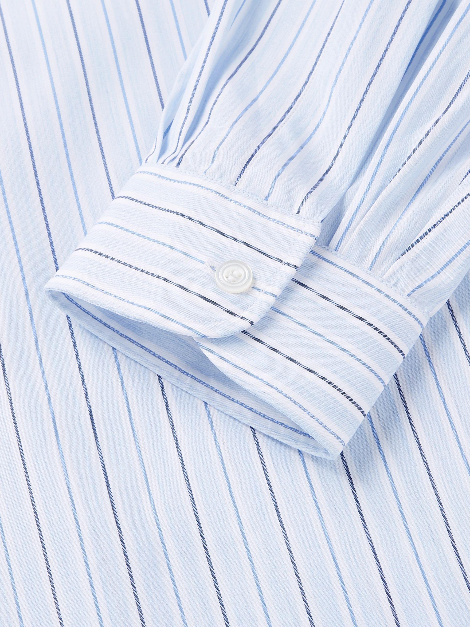 Grandad Collar Striped Cotton Poplin Shirt