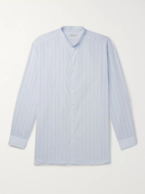 Charvet Grandad-Collar Striped Cotton-Poplin Shirt