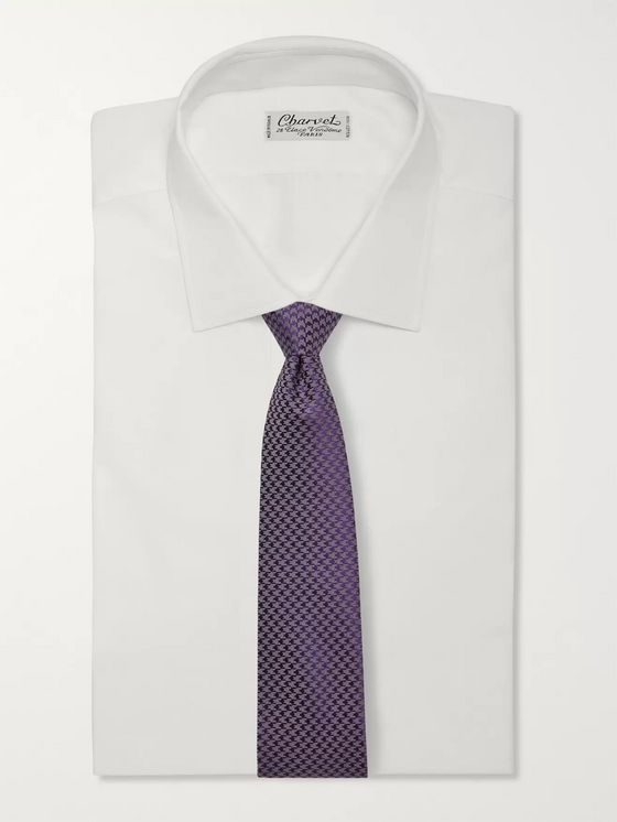 Charvet 7.5cm Houndstooth Silk and Wool-Blend Tie