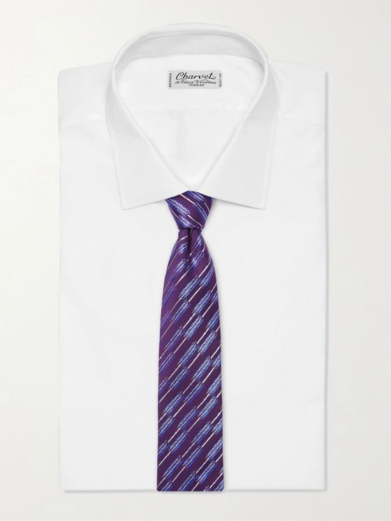 CHARVET 7.5cm Striped Silk-Jacquard Tie