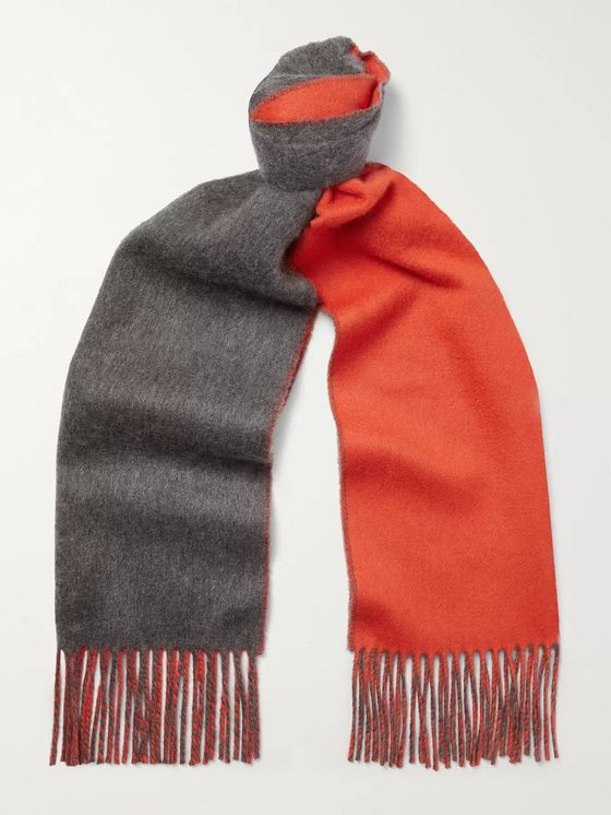 Johnstons of Elgin Reversible Fringed Cashmere Scarf