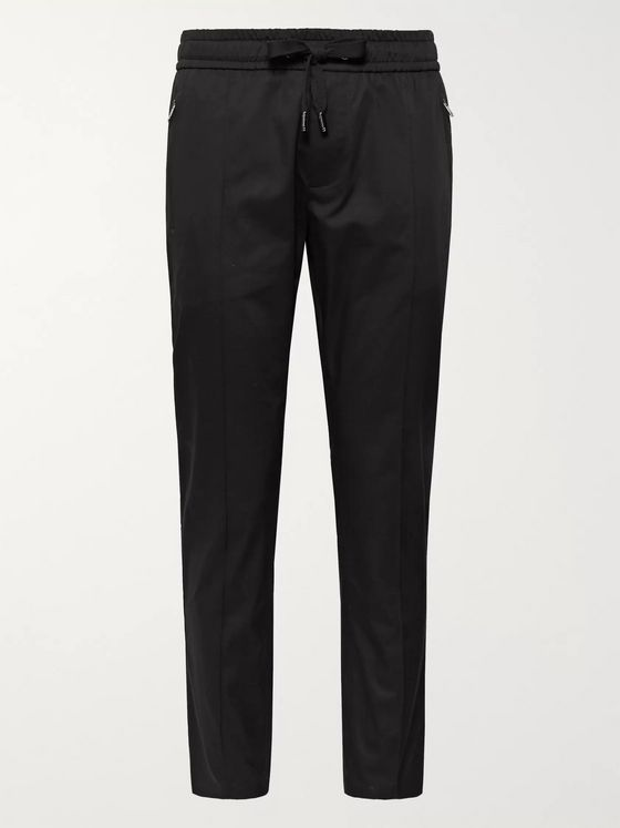 Dolce & Gabbana Slim-Fit Tapered Cotton-Blend Twill Drawstring Trousers