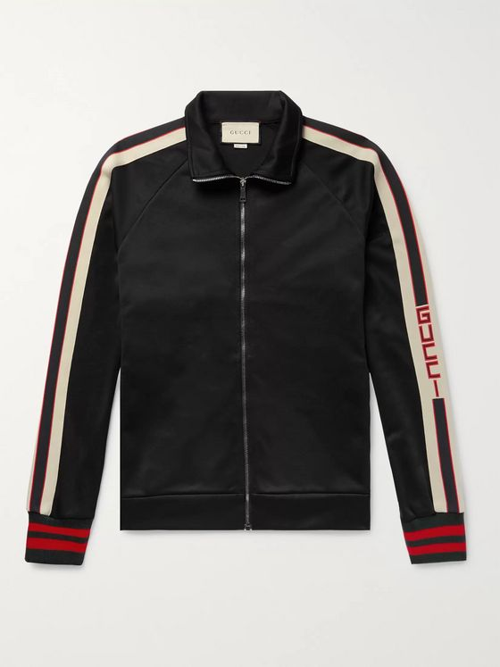 Gucci Webbing-Trimmed Tech-Jersey Track Jacket