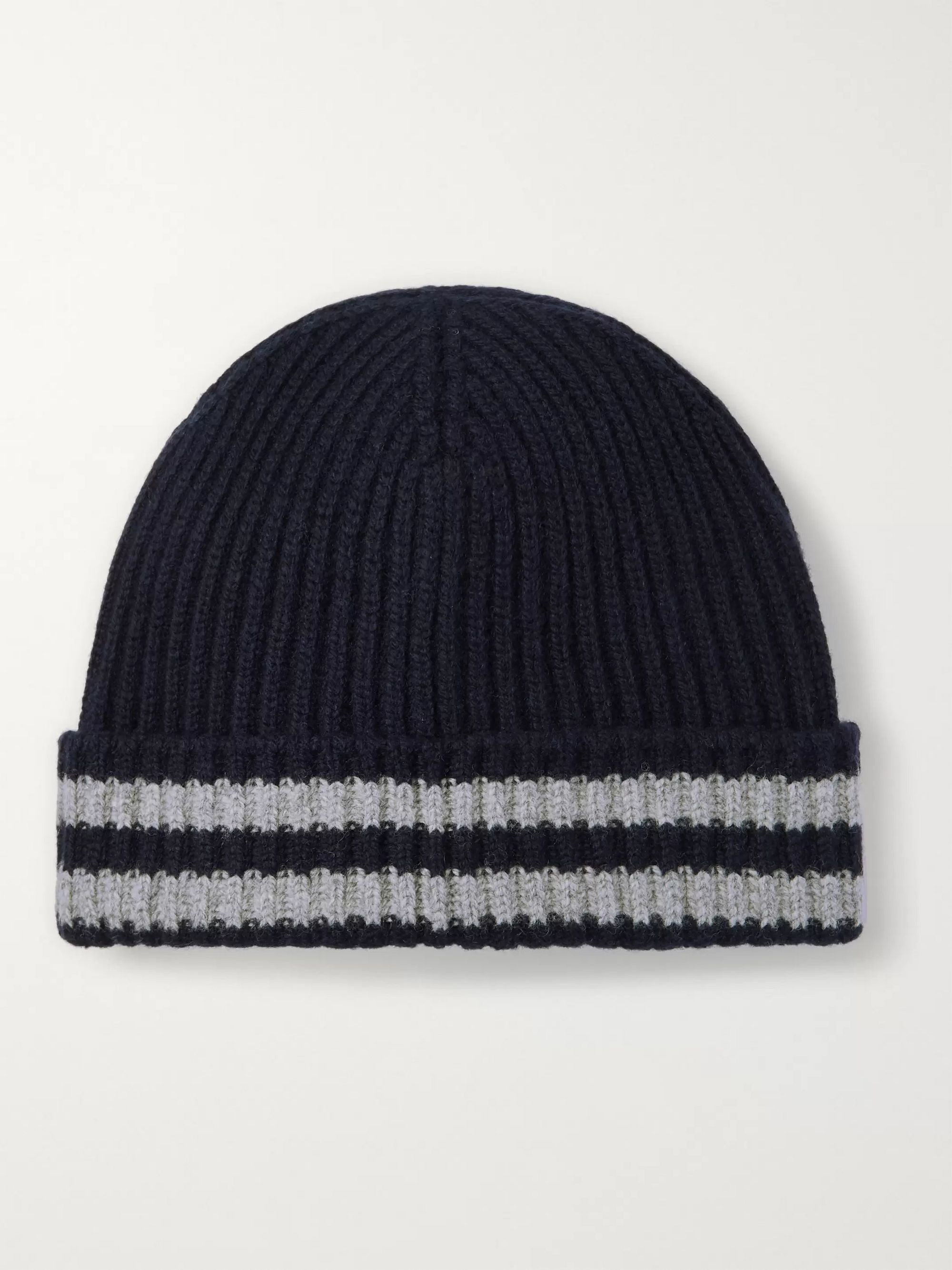 Mr P. Striped Ribbed Wool Beanie