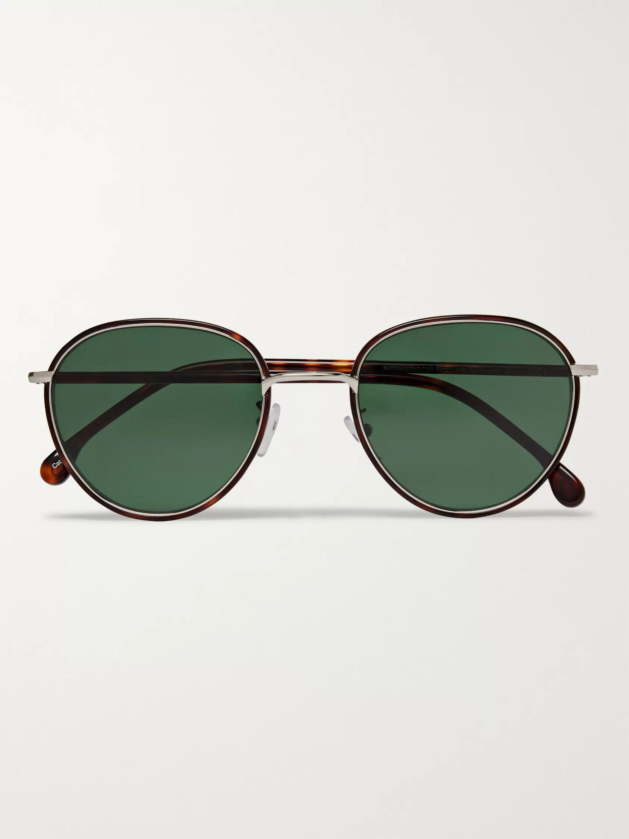 Paul Smith Albion Round-Frame Tortoishell Acetate and Silver-Tone Sunglasses