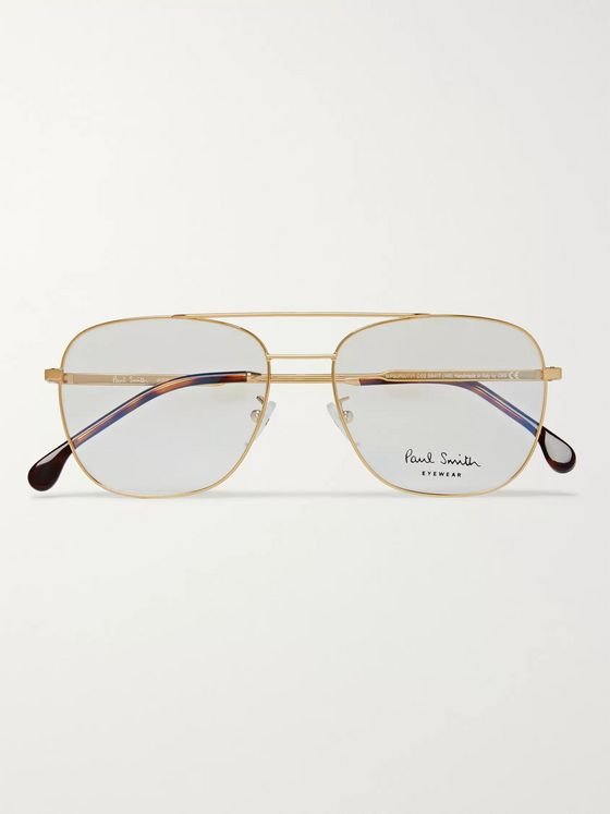 Paul Smith Avery Aviator-Style Gold-Tone Optical Glasses
