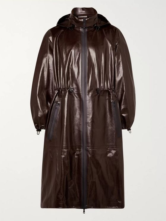 Bottega Veneta Leather Hooded Coat