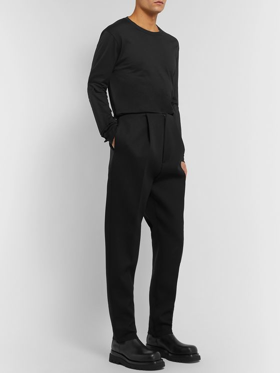 Bottega Veneta Black Slim-Fit Pleated Wool Trousers