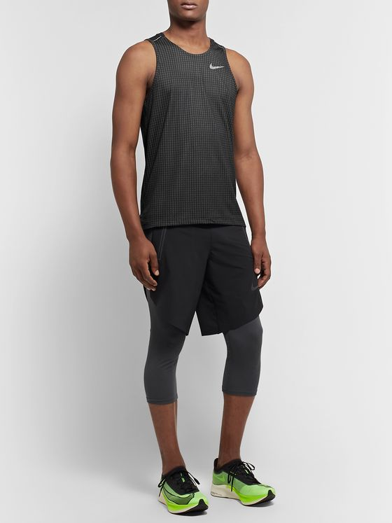 Nike Running Miler Checked Dri-FIT Mesh Tank Top