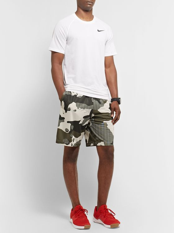 Nike Training Wide-Leg Camouflage-Print Mesh-Backed Dri-FIT Shorts