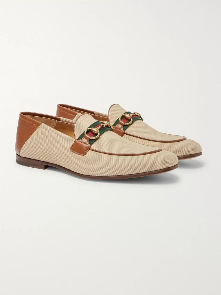 Gucci Brixton Webbing-Trimmed Horsebit Collapsible-Heel Canvas and Leather Loafers