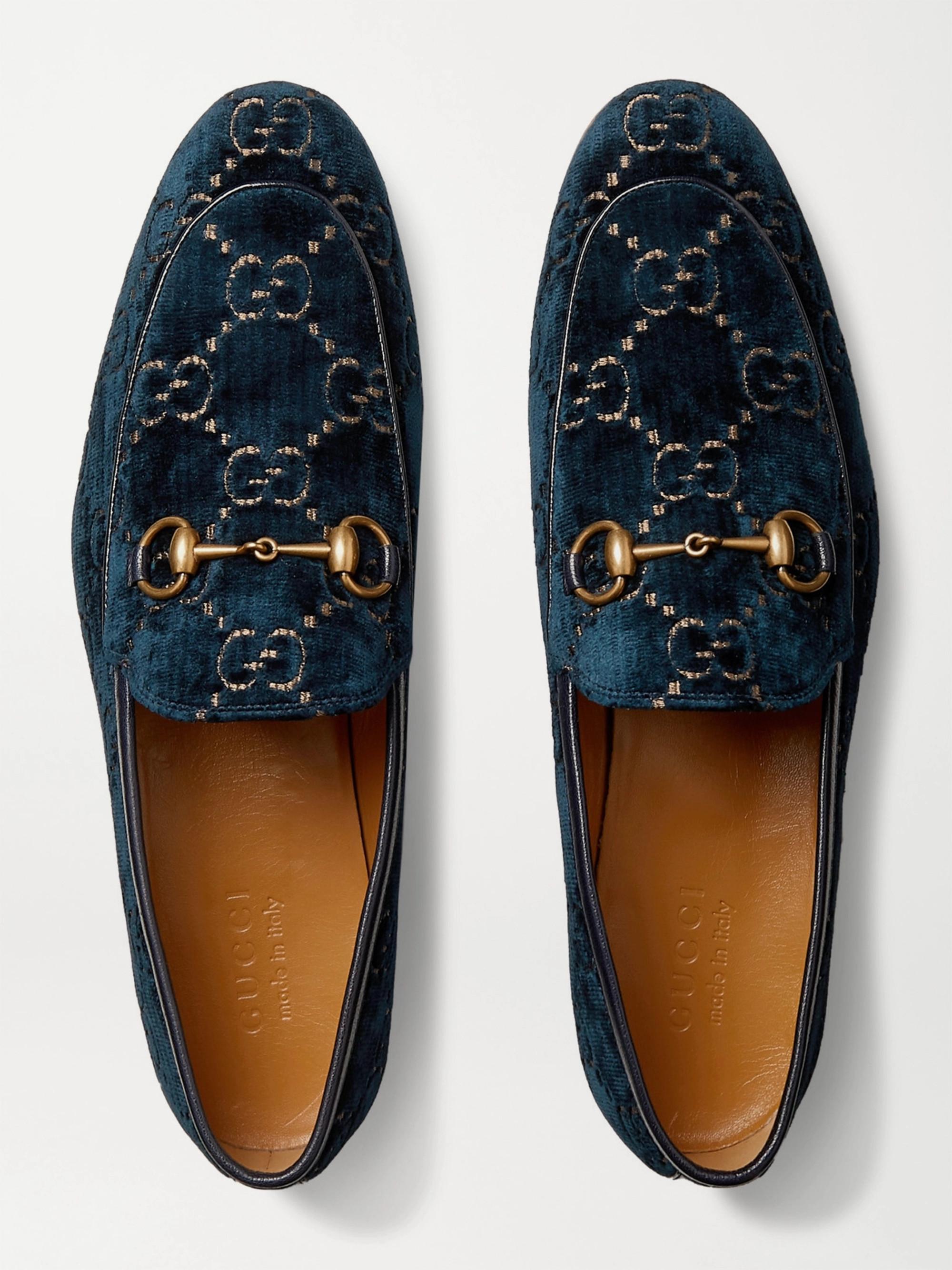 4b1cf87c79203c Gucci New Jordaan Horsebit Leather-Trimmed Logo-Embroidered Velvet Loafers