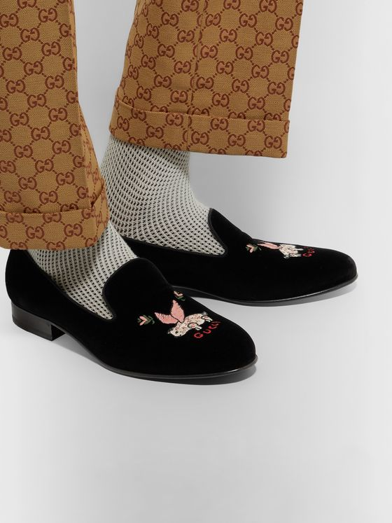 Gucci Grosgrain-Trimmed Embroidered Velvet Loafers