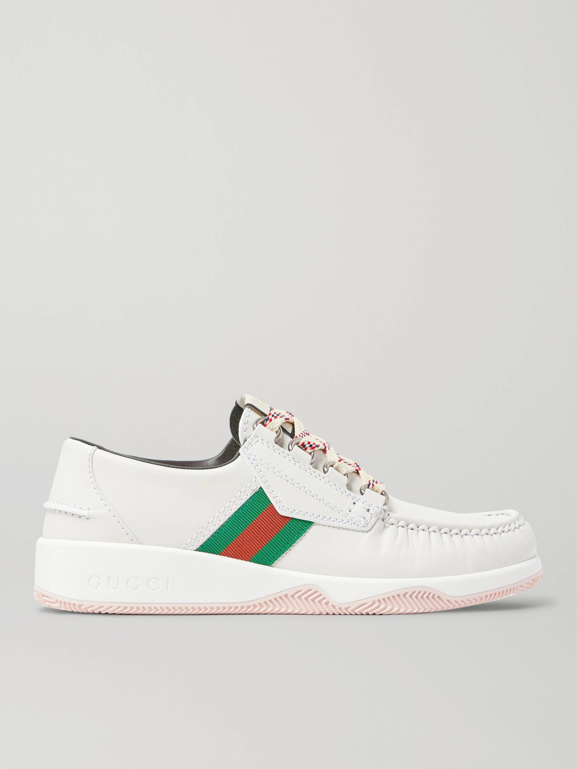 Gucci Striped Webbing-Trimmed Leather Sneakers