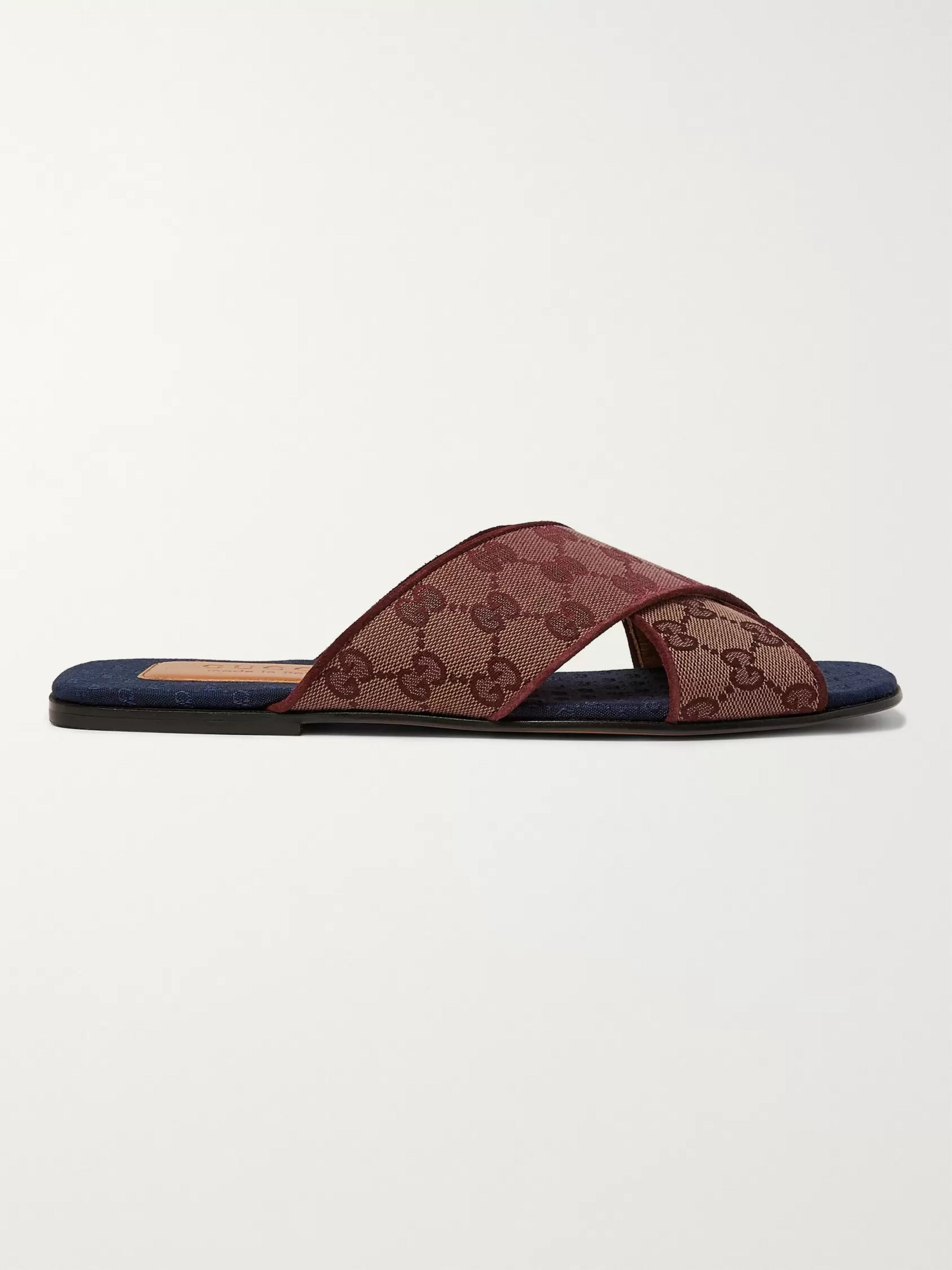 Gucci Suede-Trimmed Monogrammed Canvas Slides