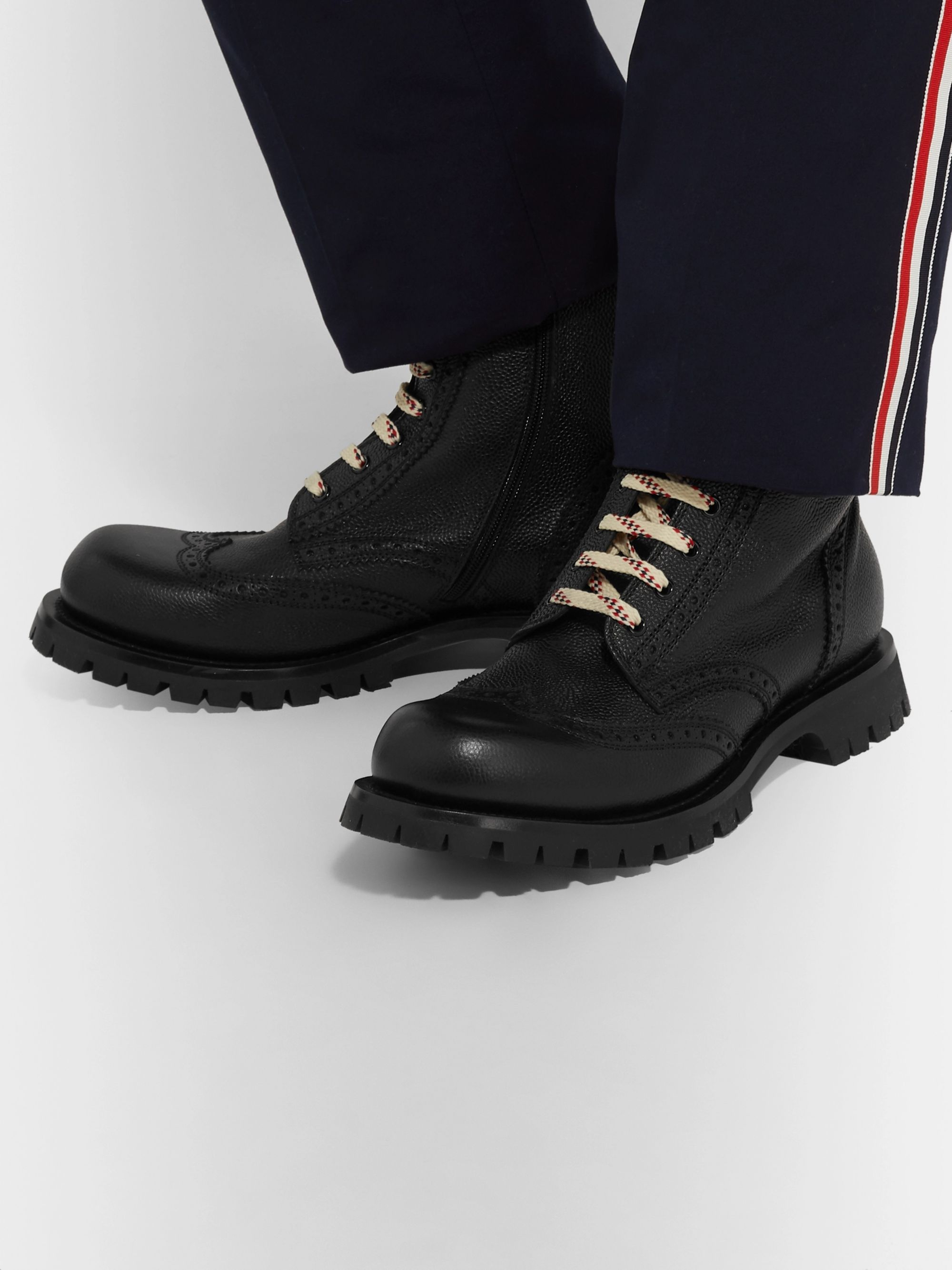 Gucci New Arley Full-Grain Leather Brogue Boots