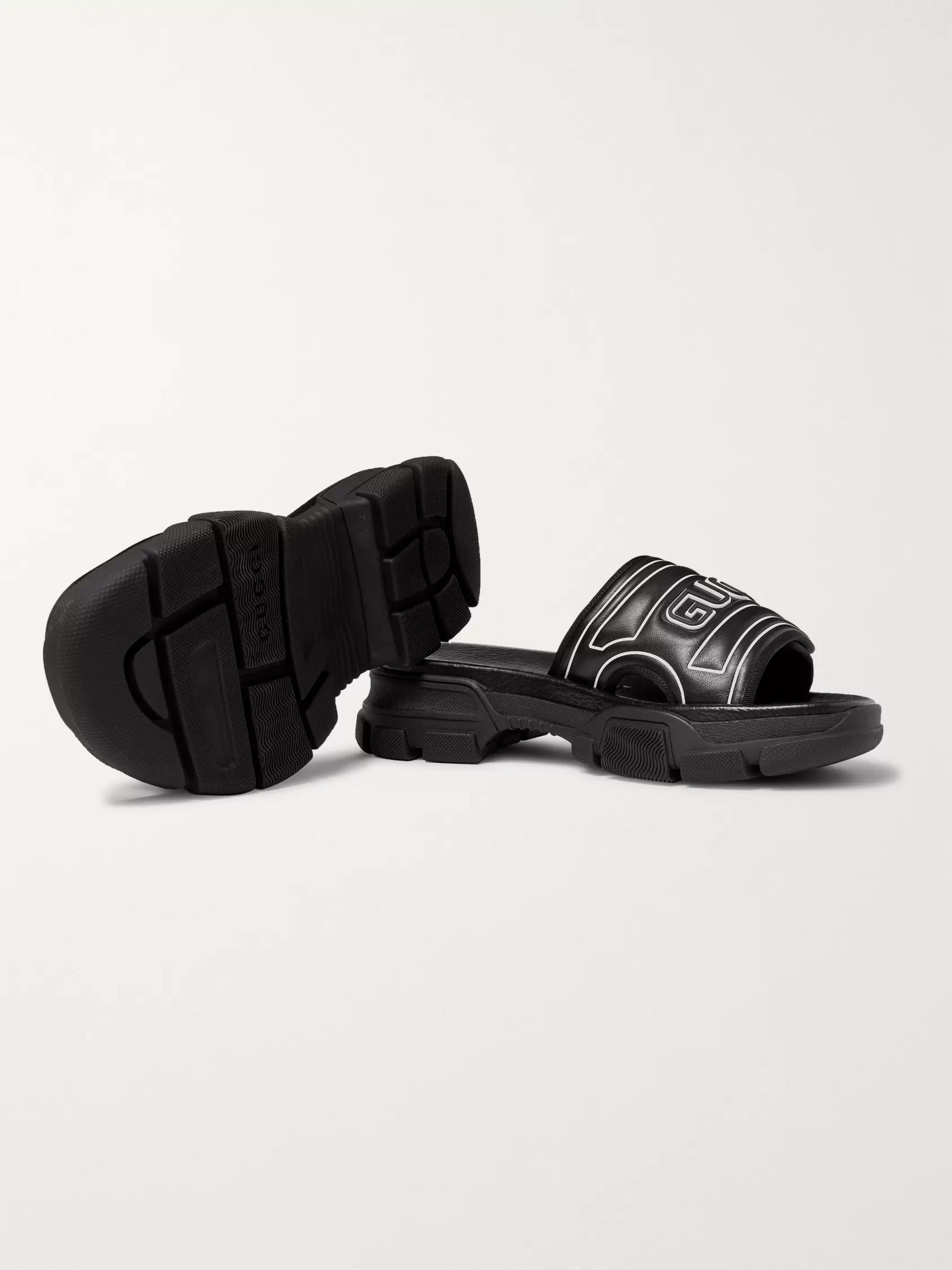 Gucci Logo-Embossed Leather and Rubber Slides
