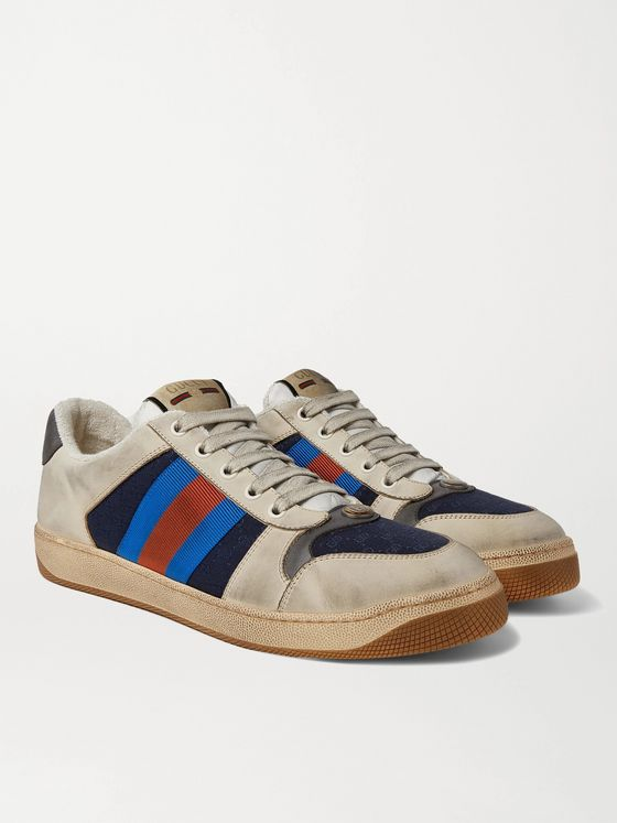 GUCCI Screener Webbing-Trimmed Distressed Leather and Canvas Sneakers
