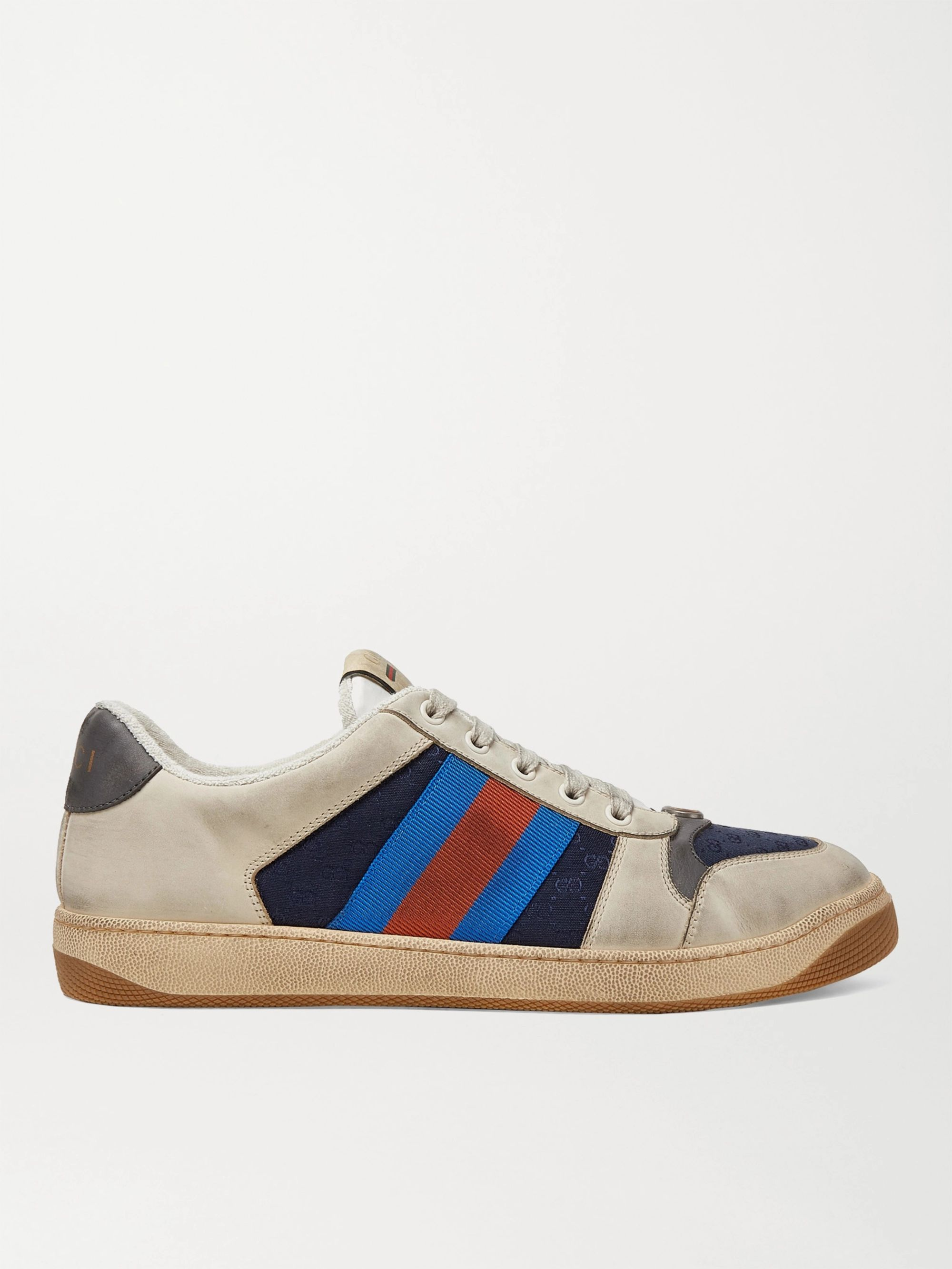 Gucci Screener Webbing-Trimmed Leather, Suede and Canvas Sneakers