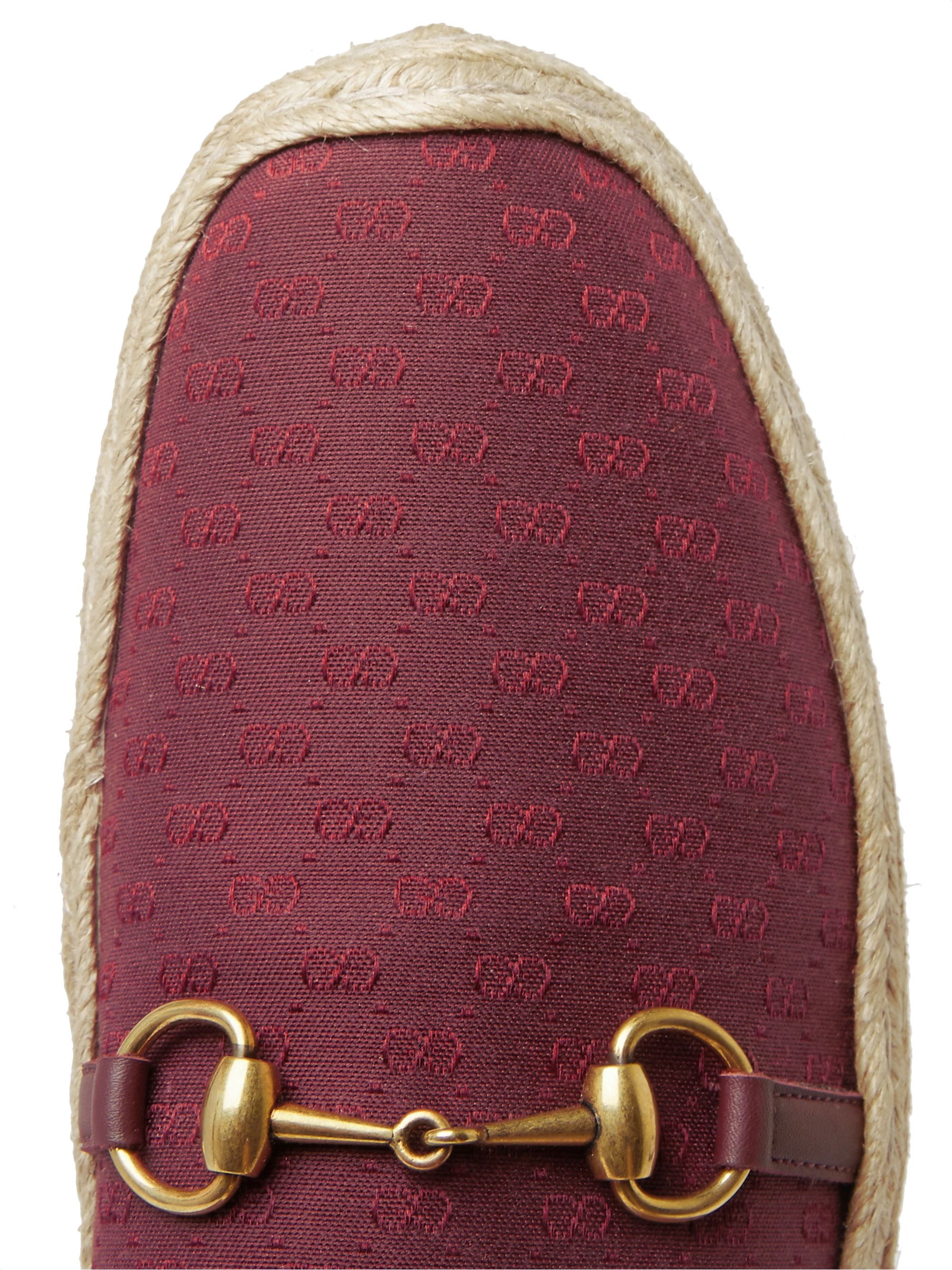 Gucci Matador Horsebit Logo-Jacquard Canvas Backless Espadrilles