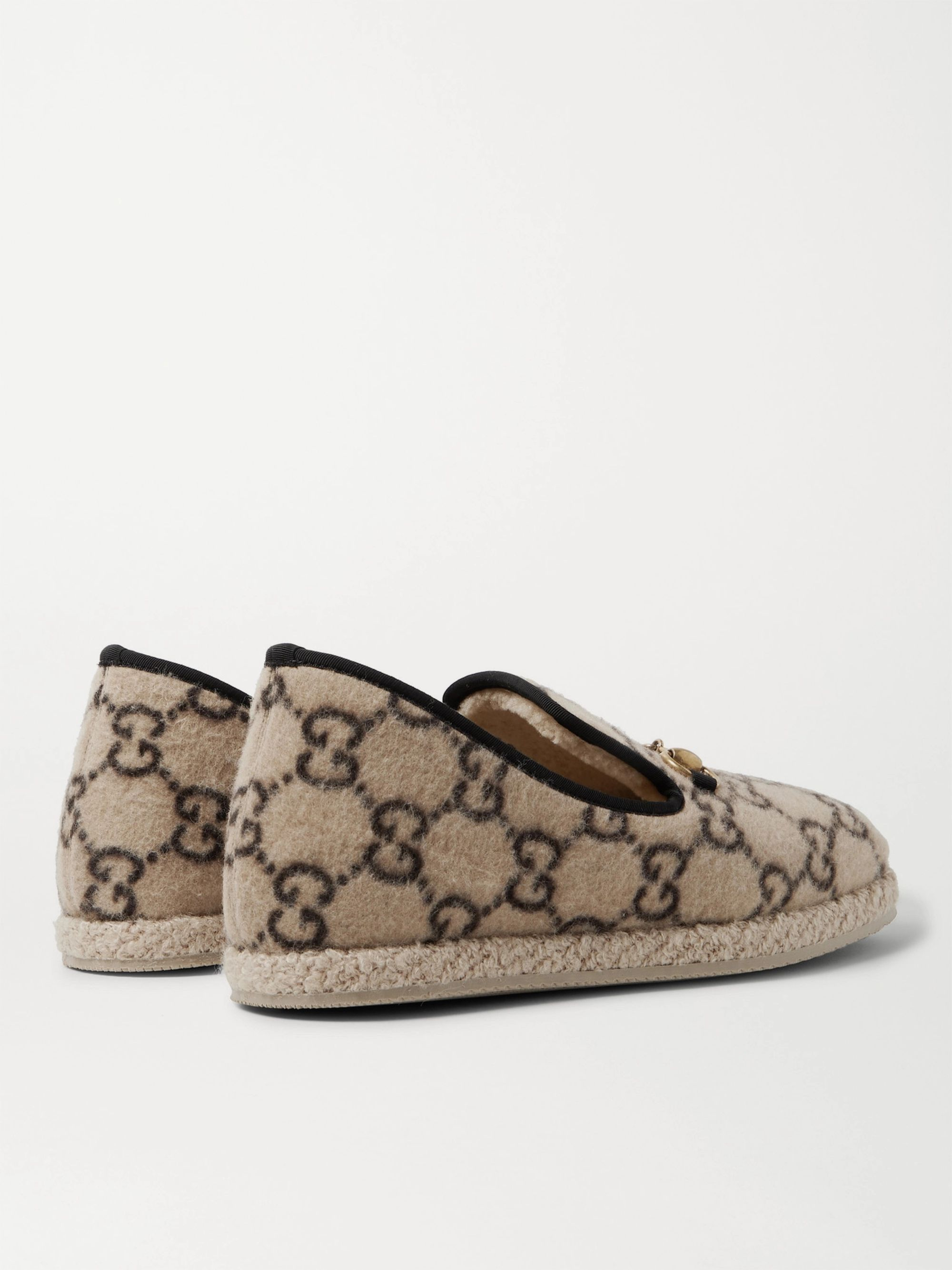 Gucci Horsebit Logo-Print Merino Wool Loafers