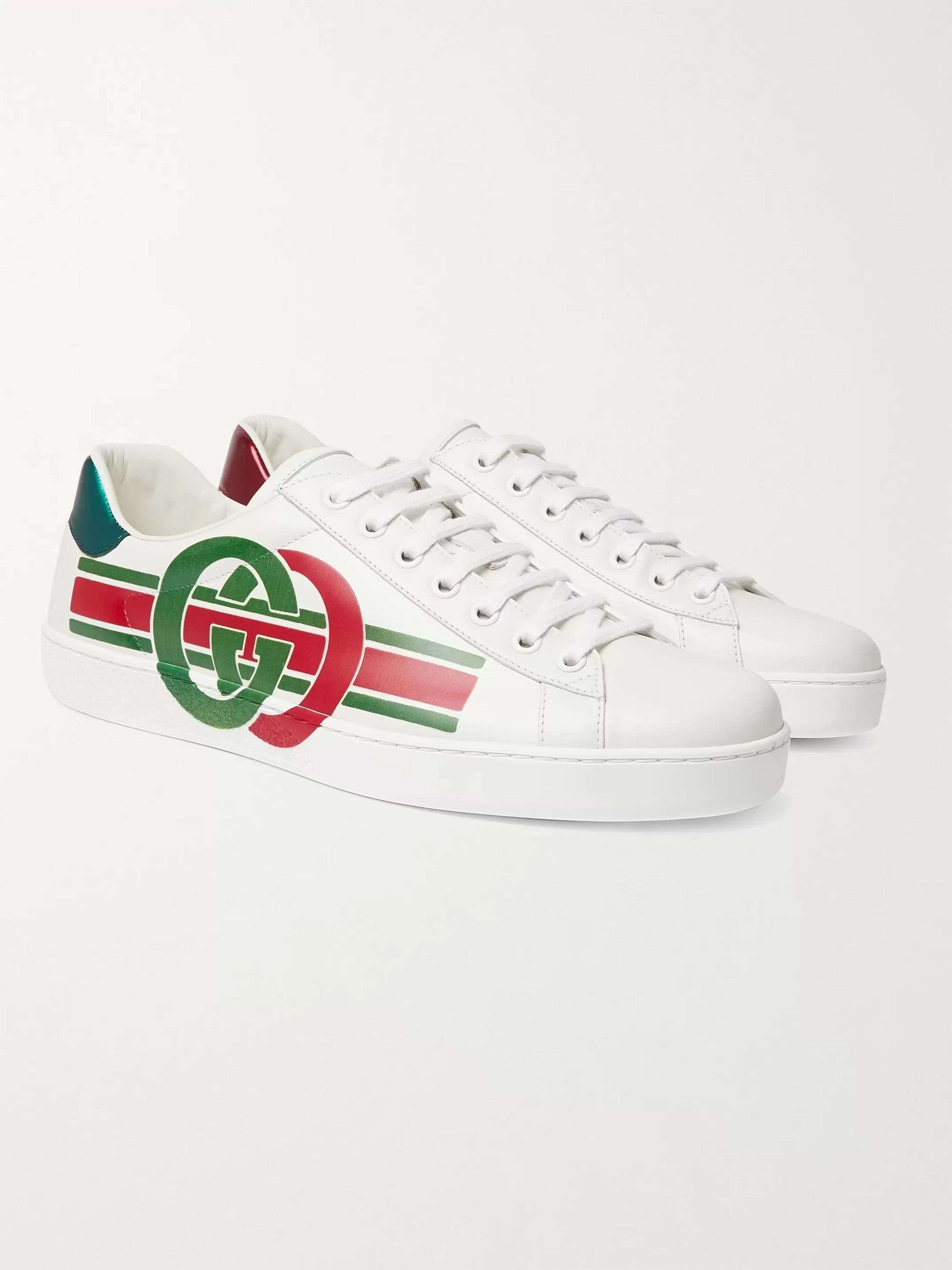 Gucci Ace Logo-Print Leather Sneakers