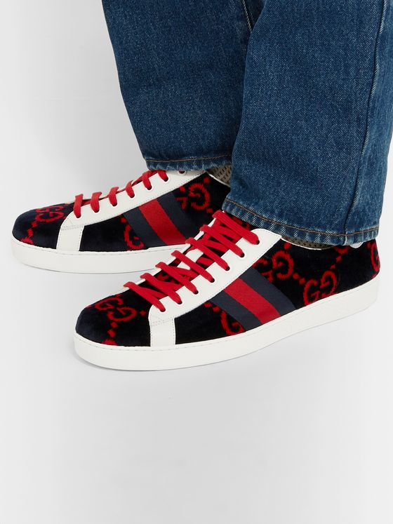 Gucci Ace Leather-Trimmed Logo-Print Terry Sneakers