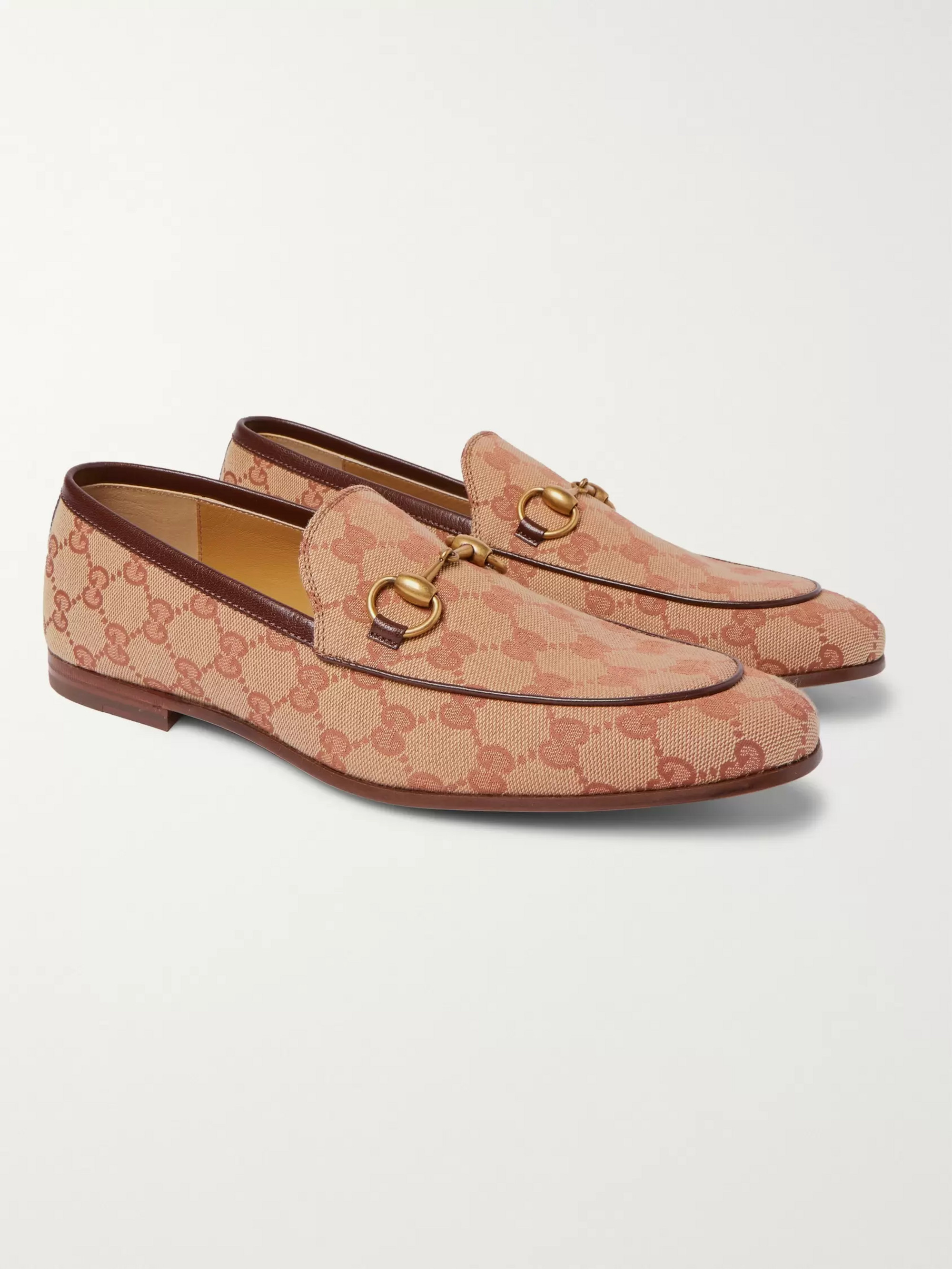 2244ac1ad Gucci Jordaan Horsebit Leather-Trimmed Monogrammed Canvas Loafers