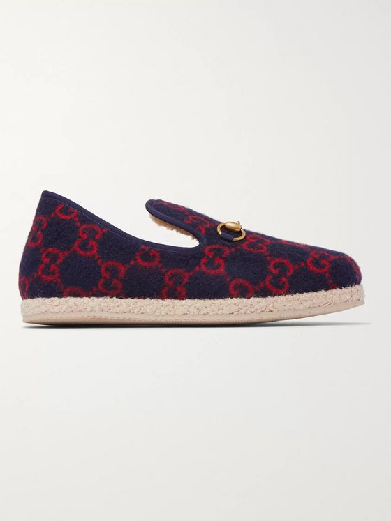 GUCCI Fria Horsebit Logo-Print Wool Loafers